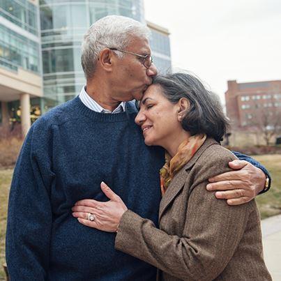 Egyptian couple Nassef Matoshaleh and his wife, Wafaa at the U-M Frankel Cardiovascular Center